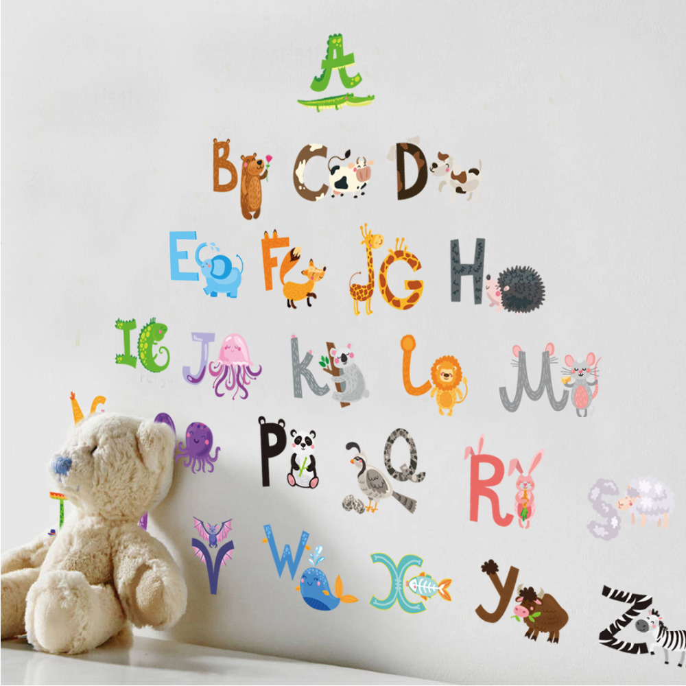 Buy english alphabet cartoon animals wall for Stickers de pared
