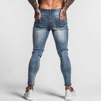 Gingtto Men\'s Skinny Jeans Faded Blue Middle Waist Classic Hip Hop Stretch Pants Cotton Comfortable Dropshipping Supply zm46