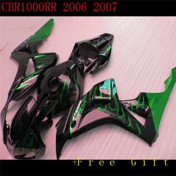Nuevos carenados para CBR1000RR 06 07 CBR1000 2006 de 2007 de plástico ABS de carenado Kits Cowlings carrocería negro verde