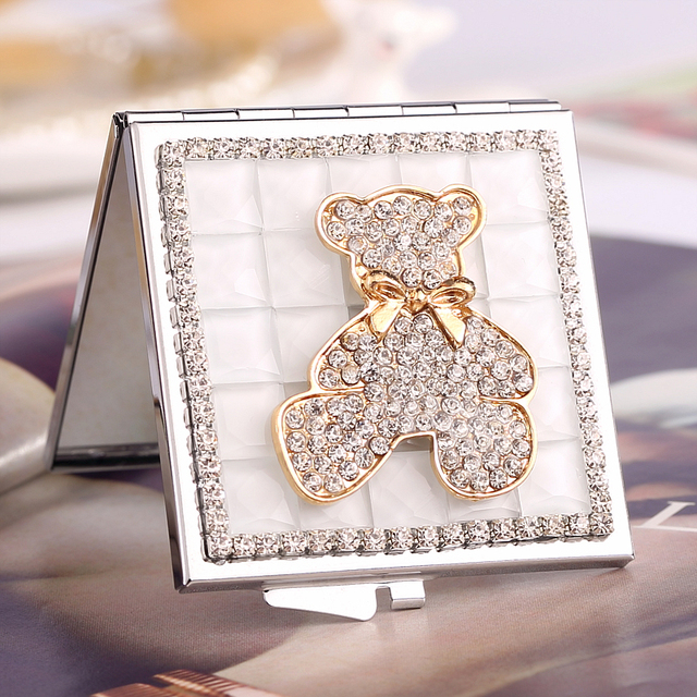 mini beauty makeup compact pocket mirror,wedding party bridesmaid girl friend gifts souvenir,bling crystal rhinestone cute bear