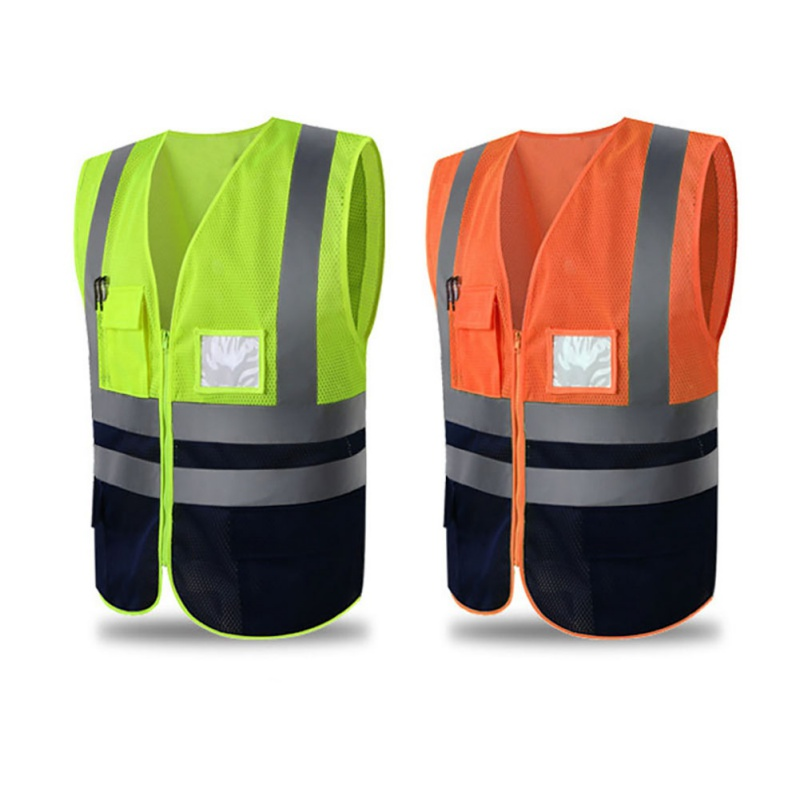 1pcs Safety Vest Multi Pouch Solid Reflective High Visibility Zipper Security Jacket Outdoor Sportswear Waistcoat Uniforms 2018