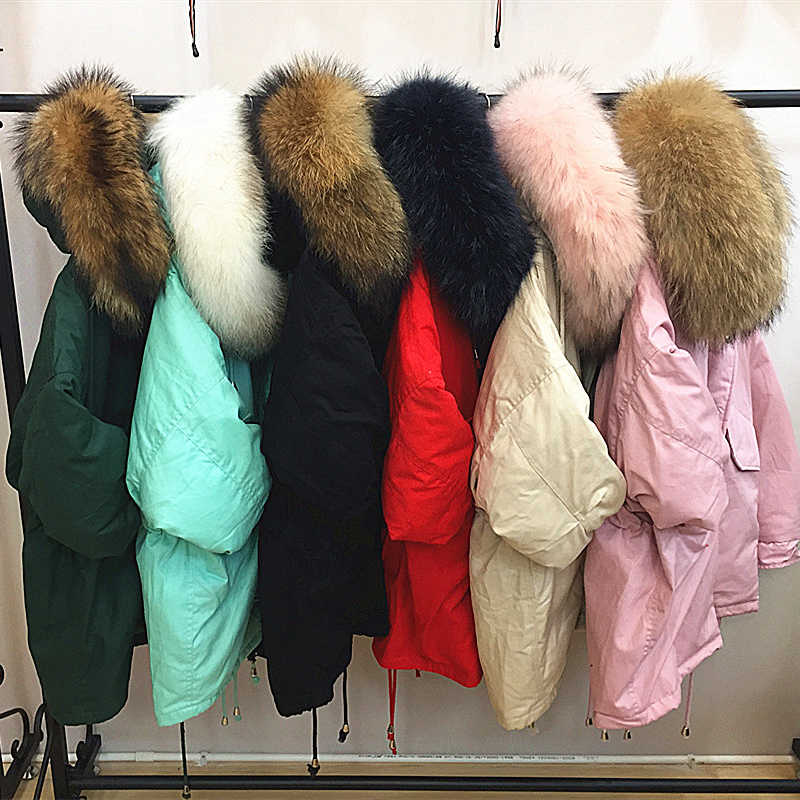 69295d4768 New large fur collar down jacket female long section Korean thick large  size trend big fur