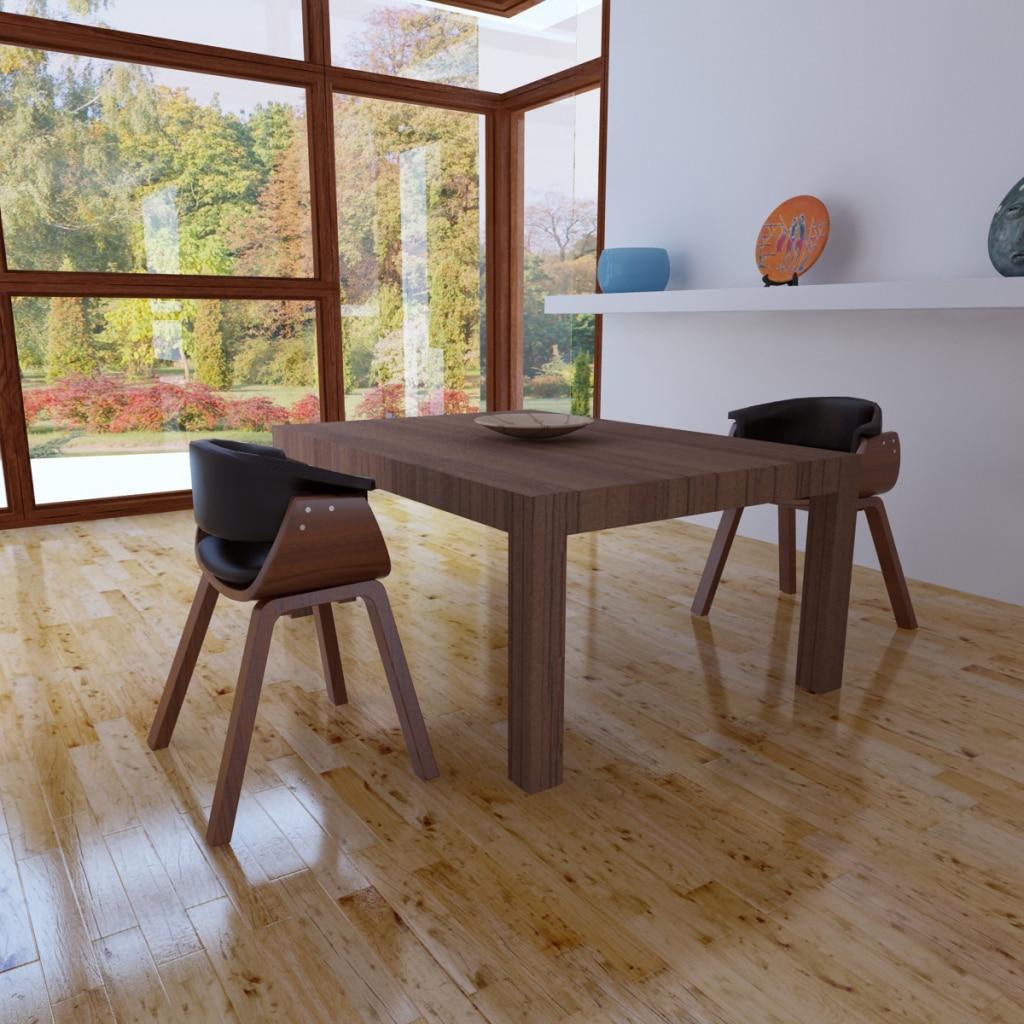 IKayaa 2 Unids modernas sillas de Comedor de madera y de cuero ...
