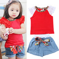 Toddler Girls Ruffled Sleeves Shorts Floral T-shirt+ Bow Jeans Pant Outfits Baby Girl Clothing