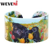 WEVENI Plastic Rural French Bulldog Pug Dog Bangles Bracelets Indian Fashion Craft Jewelry For Women Girl Ladies Accessories Pet(China)
