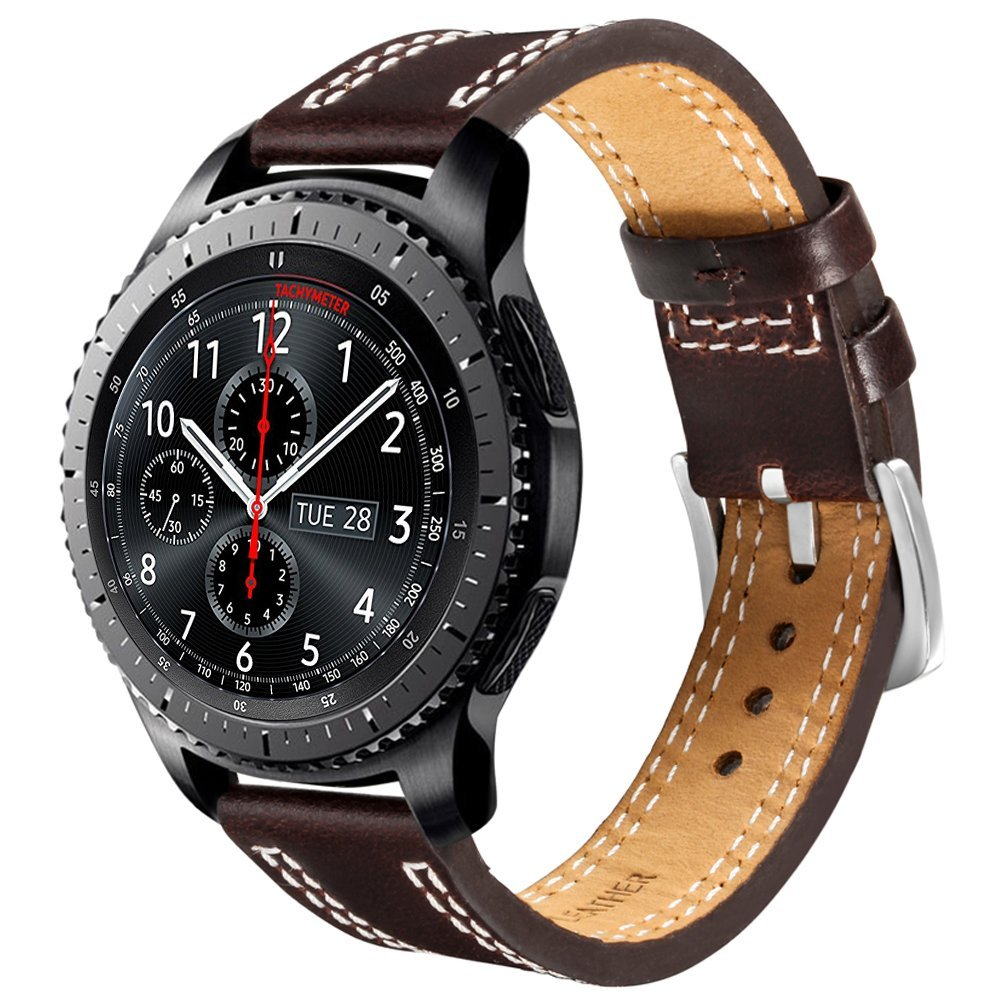 V-MORO New Genuine Leather Watch Bands Gear S3 Replacement Bracelet For Samsung Gear S3 Classic Frontier Smart Watch wireless cradle charger for samsung gear s2 classic smart watch