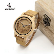 BOBO BIRD Timepieces Bamboo Watches Men Women Skeleton Deer Buck Head Design Wood Quartz Watch relogio masculino C-A27