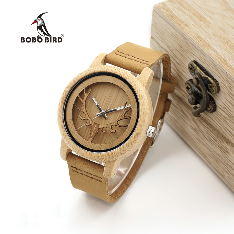 BOBO BIRD Timepieces Bamboo Watches Men Women Skeleton Deer Buck Head Design Wood Quartz Watch relogio masculino C-A27 мягкая игрушка promise a nw113501 bobo 35cm
