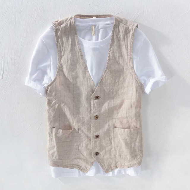 Summer Linen Slimming Vest Men Casual Thin Vest Sleeveless Jacket Stripe Waistcoat Male Clothing Plus Size S-5XL 6XL 7XL