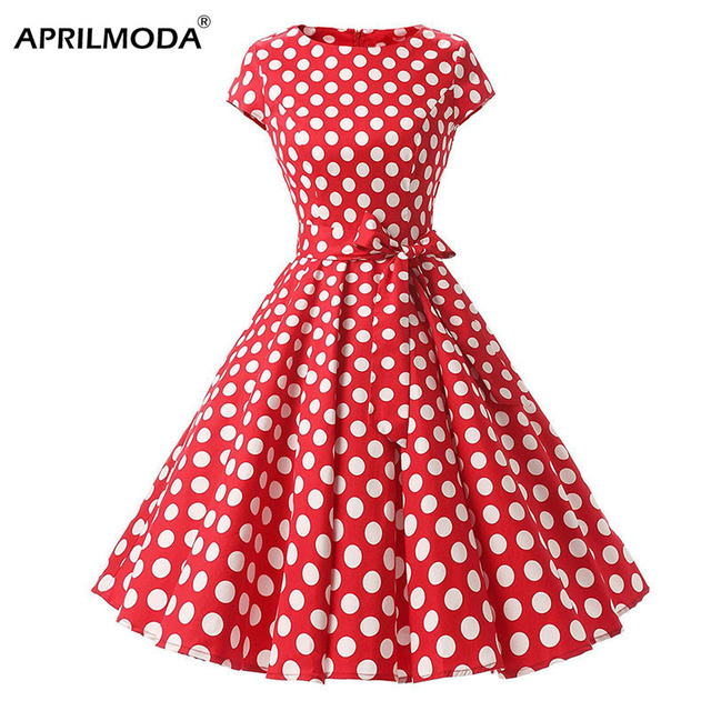 218bd201365b4 Ladies Red White Polka Dot Printed Vintage Dress Retro 1950s 1960s Hepburn Style  Short Sleeve New Summer Party Big Swing Dress