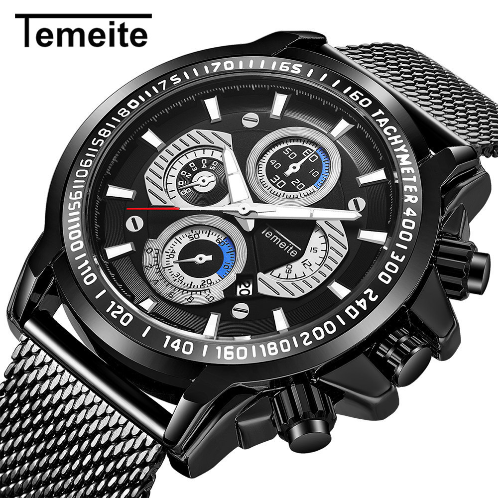 Temeite Sport Mens Watches Mesh Band Stainless Steel Black Quartz Watch Men Fashion Causal Wristwatches Male Relogio Masculino