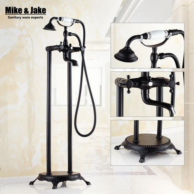 Bathroom Floor stand bathtub faucet Oil brushed black bath stand along tap Luxury free standing bronze brass mixer