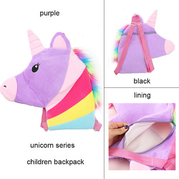 Colorful Plush Unicorn Kid Backpack