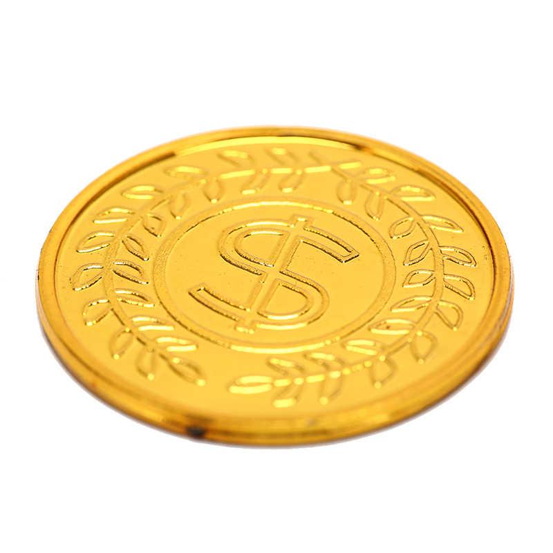 מכירה לוהטת 100 יח'\אריזה חדש פוקר קזינו שבבי bitcoin דגם bitcoin זהב ציפוי פלסטיק פיראטים זהב מטבעות