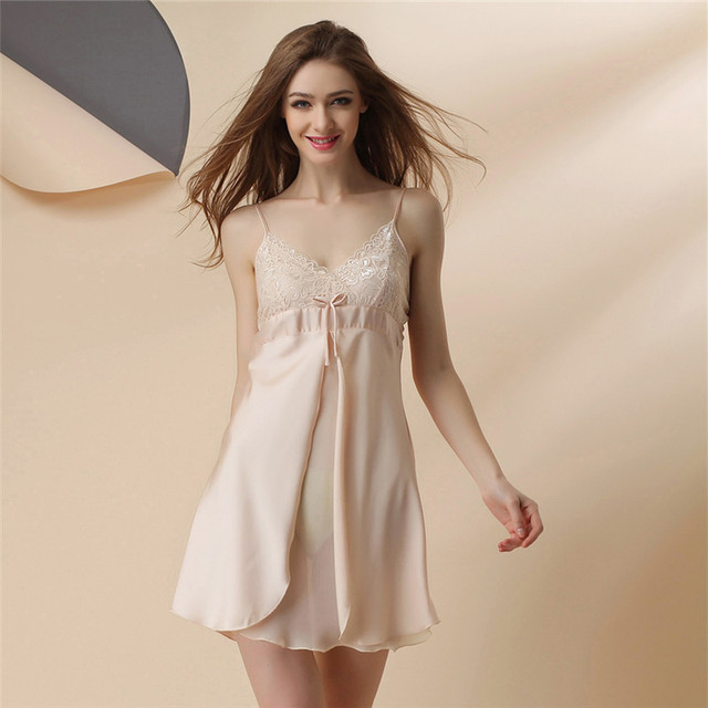 Promotion Chest Pad Xiabingsi Camisole Night Woman Summer Sexy Sleeping Dress Woman Lure Lace Silk Homewear On Sale