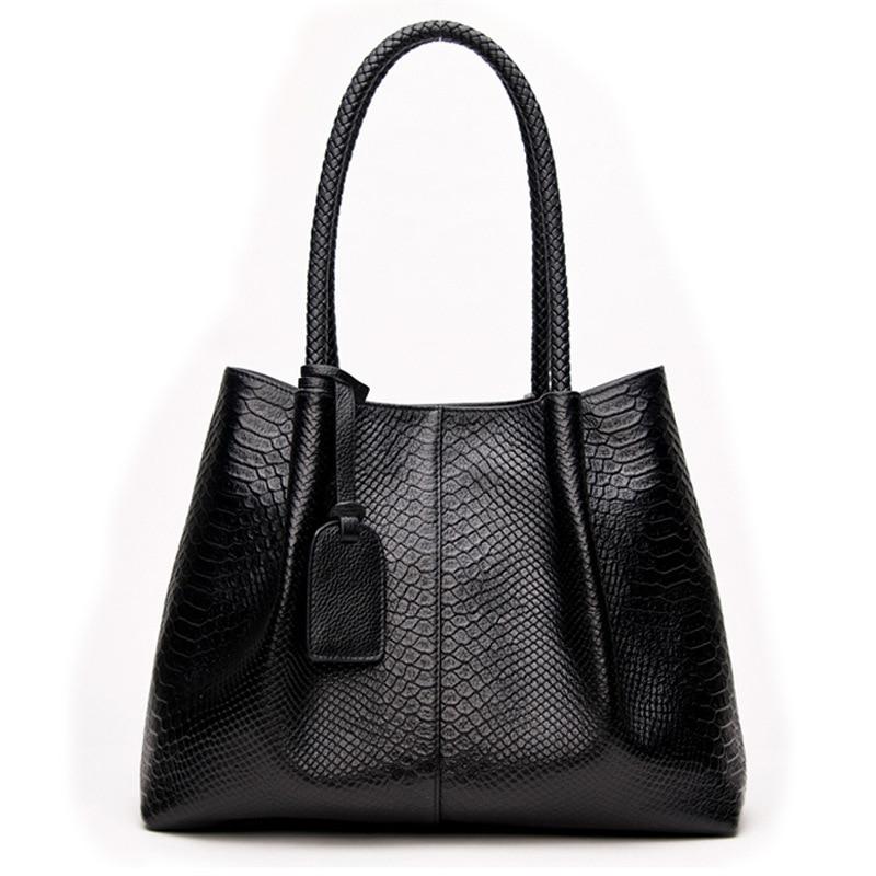 Kajie Genuine Leather Handbags Large Capacity Women Bag Snake Shoulder Bag Luxury Bags Famous Brands Casual Femme Tote Bags