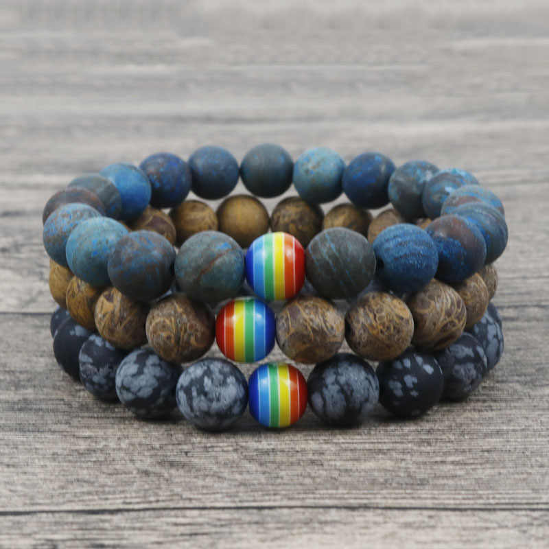 2019 10MM Gay Pride Rainbow Bracelet Men/ Women Frosted Natural Snowflake Stone Bead Couple Bracelet Gay Jewelry Gift For Him H2