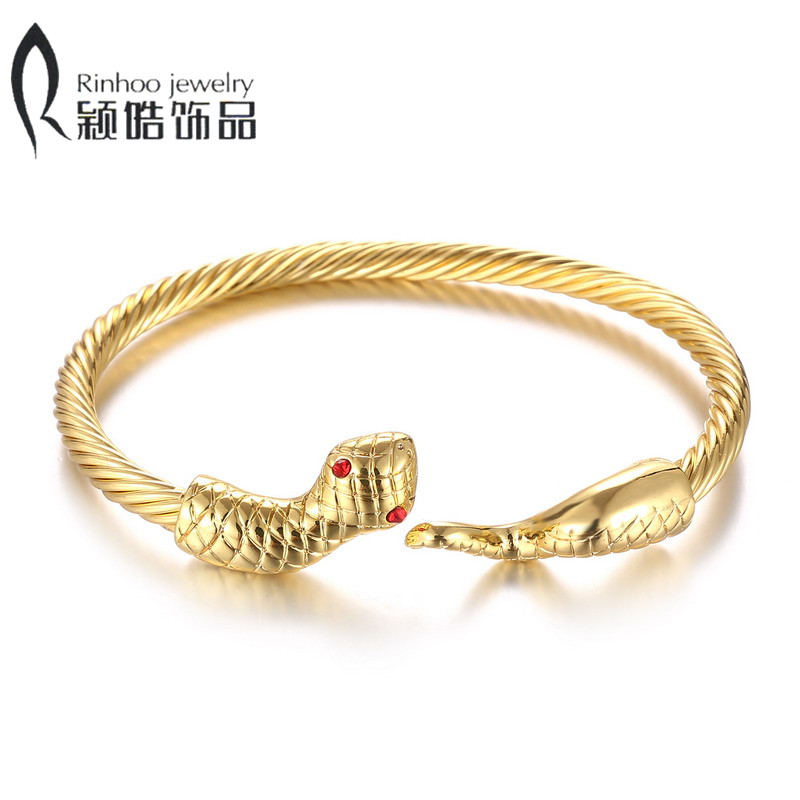 Gold Silver Snake Dragon Head Shape crystal alloy Women\'s Fashion ...