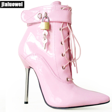 цены jialuowei 2019 New 12CM High Heel Shoes Pointed-toe Lace-up Metal Heels Sexy Fetish Padlocks Boots Women lockable Ankle Boots