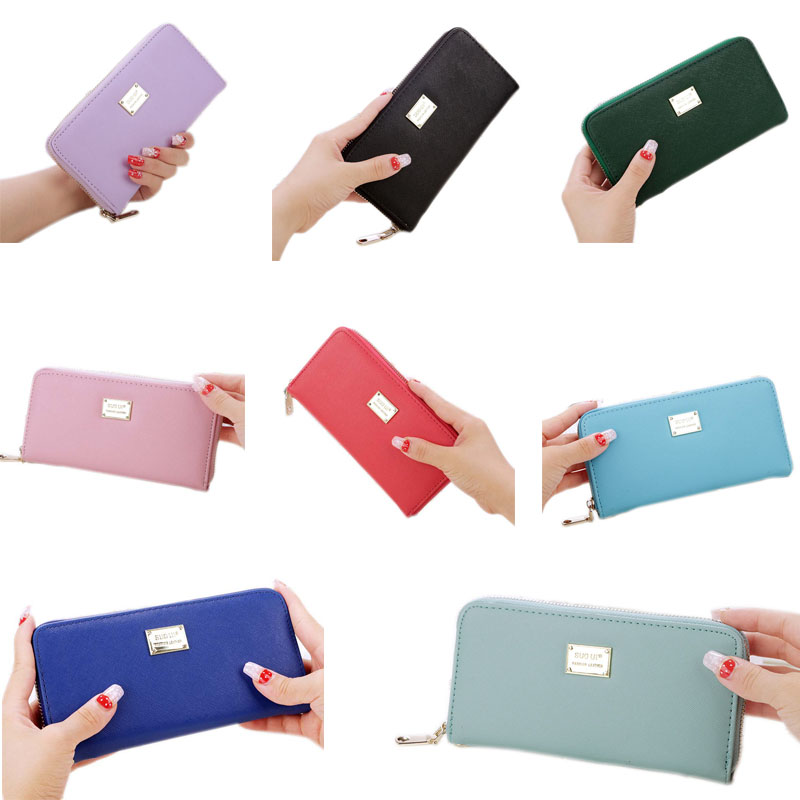 New PU Leather Wallet Women Clutch Bag Cross Pattern Long Purses Zipper Female Coin Purse Card Holder WML99 lorways 016 stylish check pattern long style pu leather men s wallet blue coffee