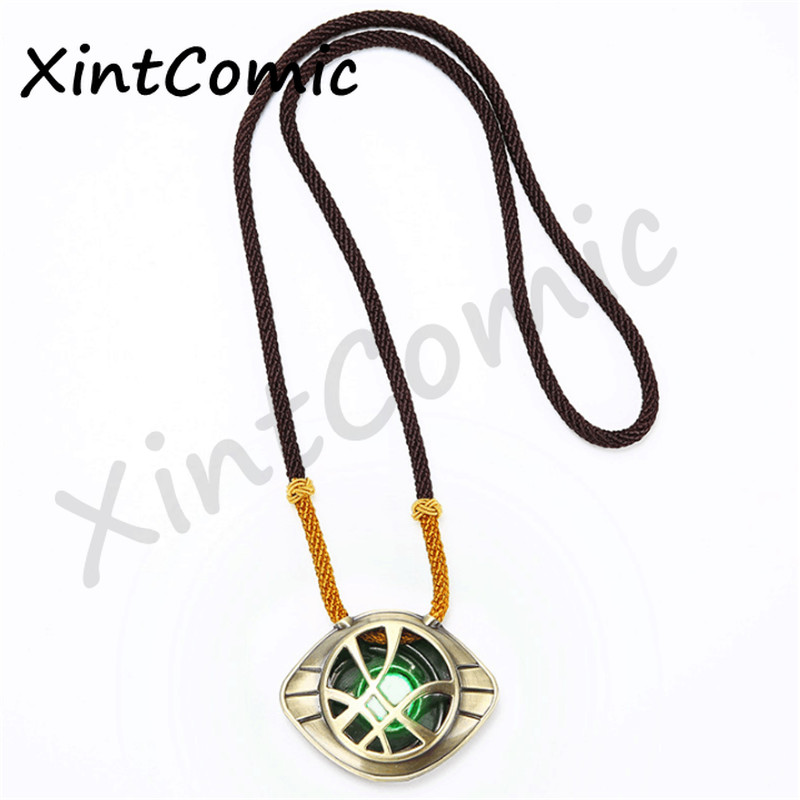 Movie Avengers Steve Doctor Strange Time Gem Agamotto Eyeball Pendant Alloy Necklace Jewelry Christmas key chain Gift