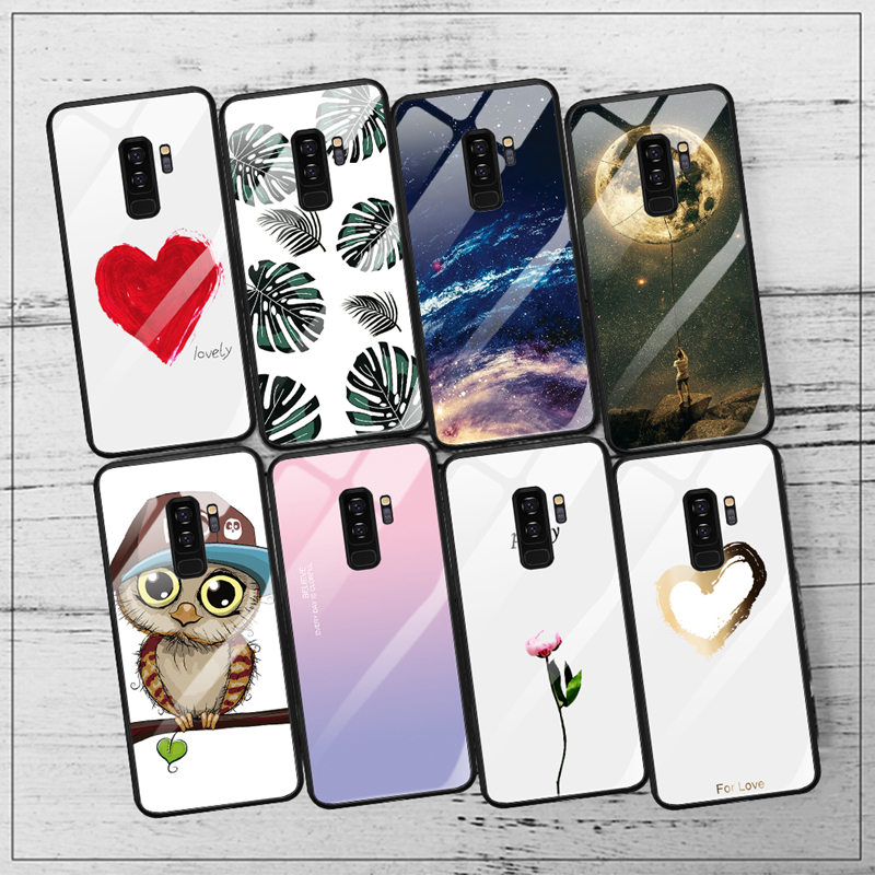 Phone Case For Samsung Galaxy S9 S8 Plus Note 8 9 S8 Glossy Cartoon Painted Glass Cover For Samsung A7 J4 J6 Plus 2018 S10 S10e