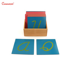 Montessori Language Sandpaper Letters with Box Wooden Learning Teaching Toys Kids Students Toy Home Preschool LA007-3