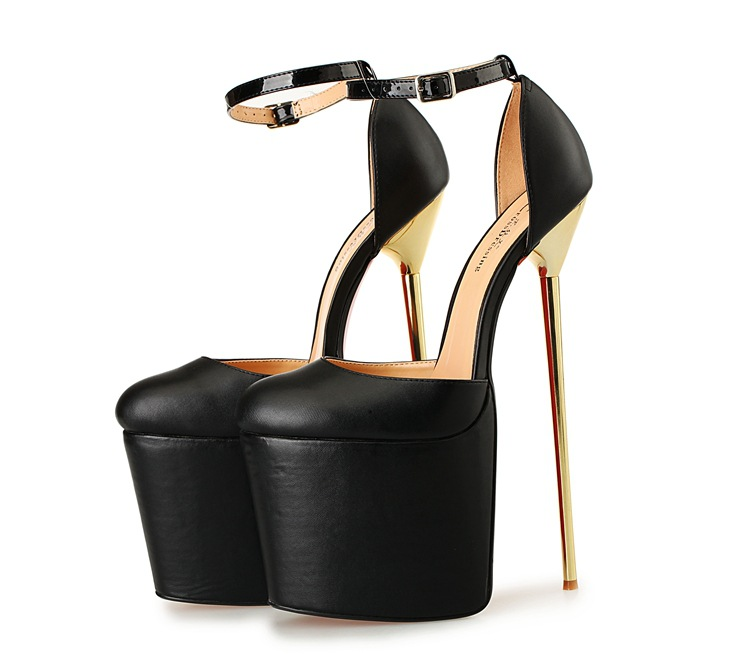 High Heels Women Pumps Pointed Toe Leather Sexy Lady Wedding Shoes Ankle Strap Metal Thin Heels Dress Black Red Women Pumps sexy lace blade heels pumps pointed toe red black mixed colors slip on wedding dress shoes women thin heels night club shoes
