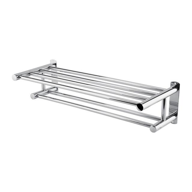 Stainless Steel Double Bathroom Towel Rails Modern Wall Mounted Storage Rack Shelf Tools