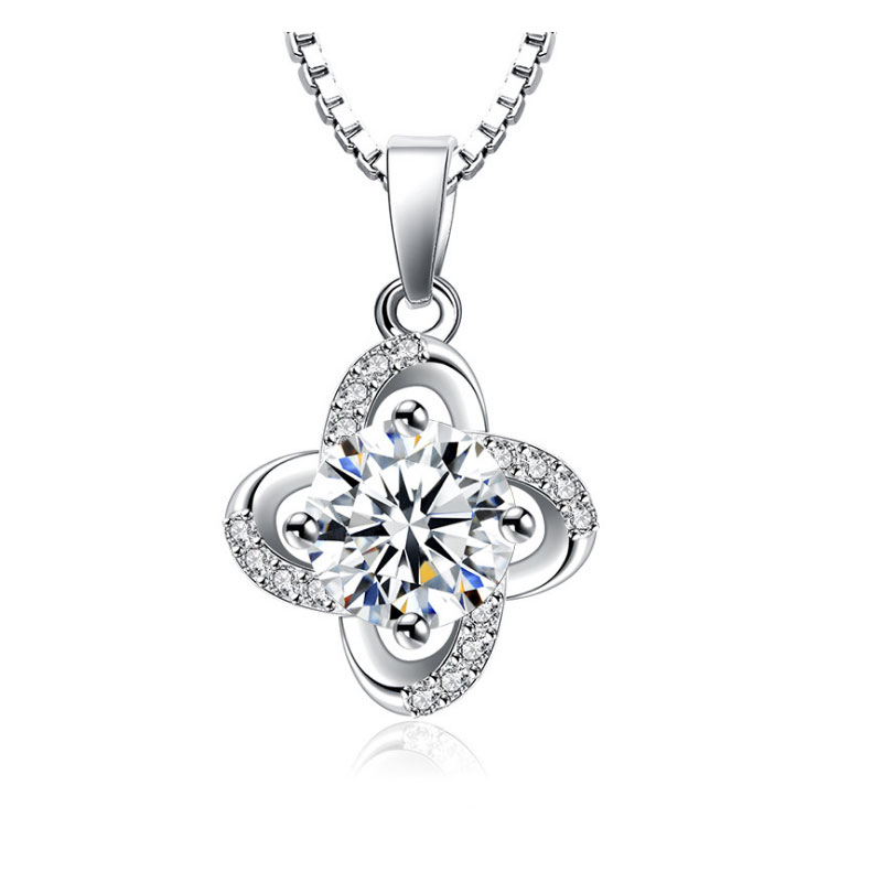 MIKU 925 Sterling Silver Zircon Clover Flower Twist Windmill Forever Pendant Necklace Chain collares Gift Fashion Jewelry