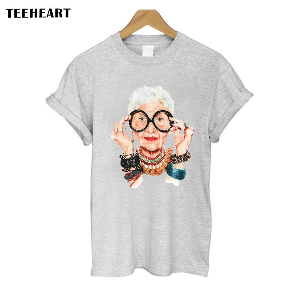 Casual Tumblr Old Women Print T Shirt Women Cotton O neck