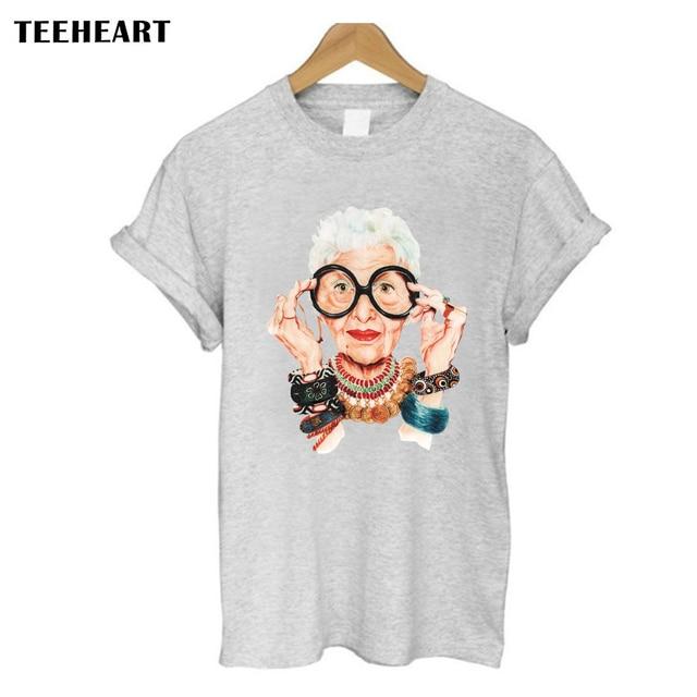 1c257b63f68d Casual Tumblr Old Women Print T Shirt Women Cotton O neck Short ...