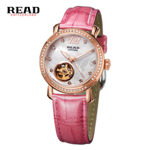 ЧИТАТЬ женские Автоматические механические часы Женщины Элегантные платья женщин часы Из Натуральной Кожи Водонепроницаемые часы relogio feminino 8035