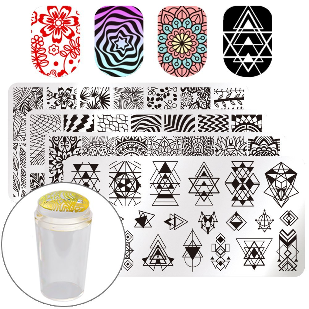 BORN PRETTY 4PC Rectangle Nail Stamping Plate Geometry Flower Pattern Nail Art Template with Stamper and Scraper Stamping Kits