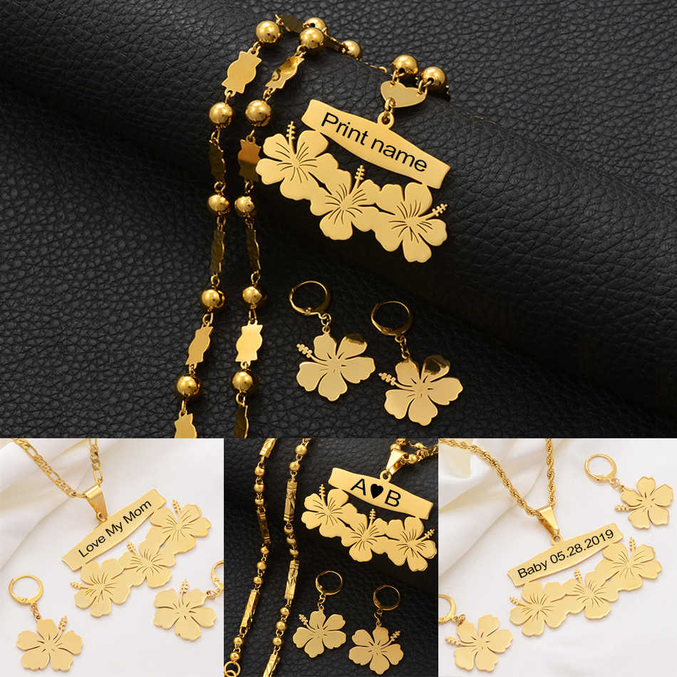 Anniyo Customize Name Necklace and Earrings Micronesia Guam Hawaiian Flower Jewelry Sets for Print Letters Birthday Gift#107321