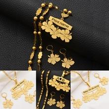 Anniyo collier et boucles doreilles avec nom personnalisable micronésie Guam, ensembles de bijoux à fleurs hawaïennes, pour lettres imprimées, cadeau danniversaire #107321