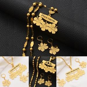 Image 1 - Anniyo collier et boucles doreilles avec nom personnalisable micronésie Guam, ensembles de bijoux à fleurs hawaïennes, pour lettres imprimées, cadeau danniversaire #107321