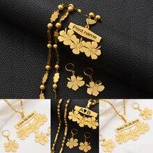 Anniyo אישית שם שרשרת ועגילים מיקרונזיה גואם הוואי פרח תכשיטי סטי עבור הדפסת מכתבי יום הולדת מתנה #107321