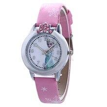 цена на FROZEN Children Watches Girls Luxury Rhinestone Quartz Watch Women Fashion Casual Leather Wristwatch Christmas Gift Relogio
