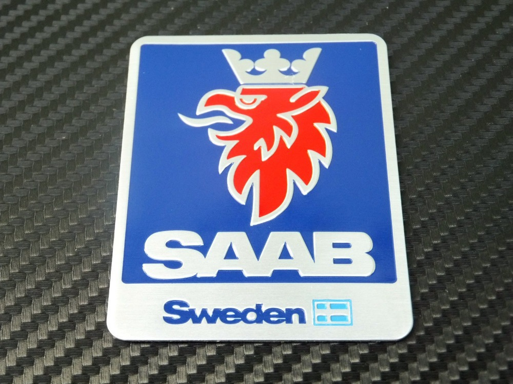 SAAB Scania Rounded Badge Logo Racing Car Vehicle Decal Stickers Blue