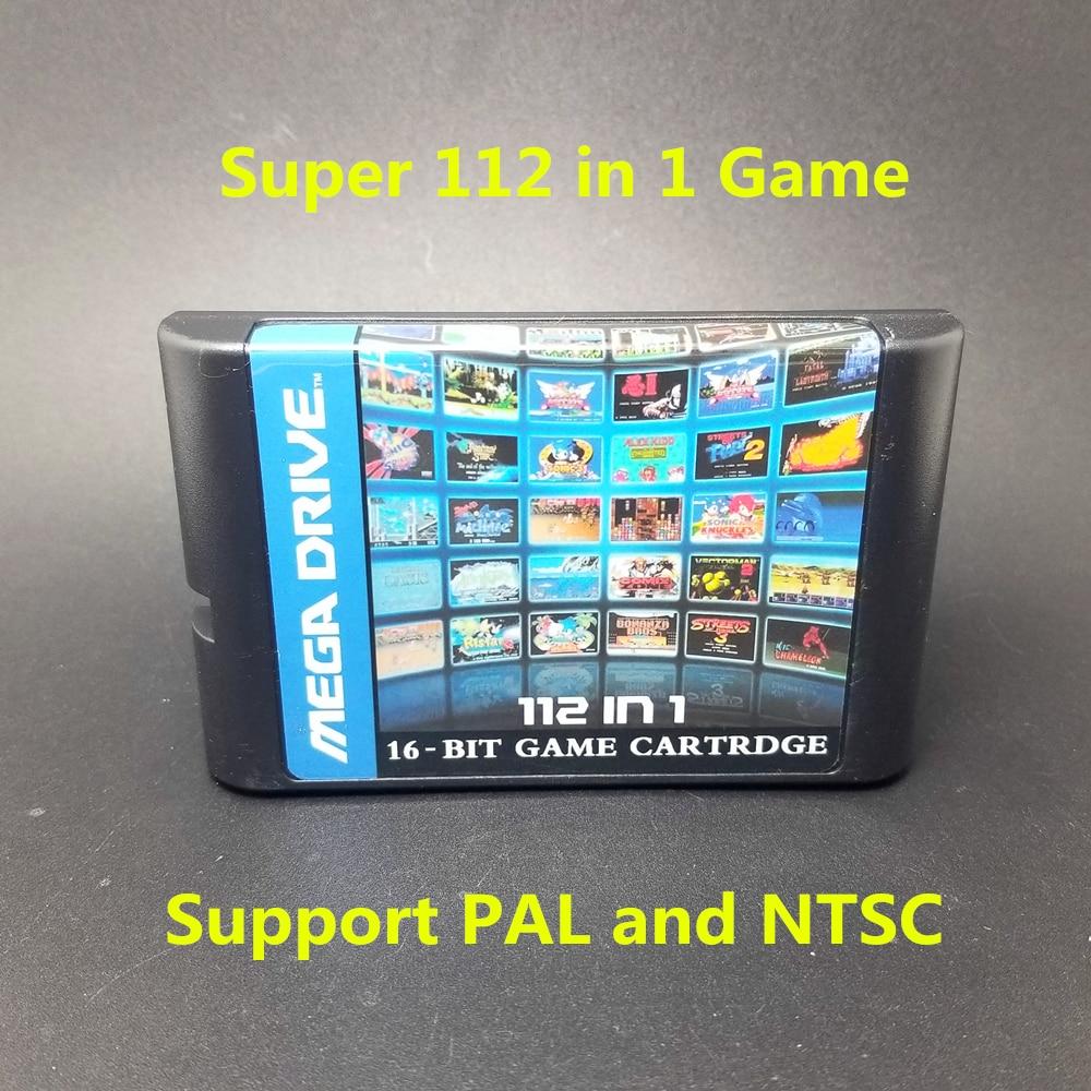 Top 112 i 1 For Sega Megadrive Genesis Game Cartridge med Contra Gunstar Heroes Alien Soldier Streets of Rage Sonic Golden Axe