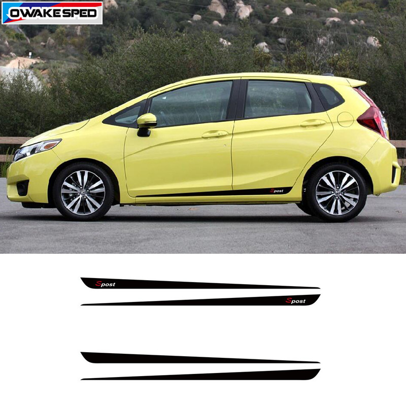 Racing Sport Stripes For Honda Fit Jazz 2017 2018 Car Styling Door Side Skirt Vinyl Decals Auto Body Protection Stickers In From Automobiles