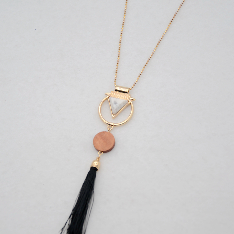 Free shipping fashion ladies jewelry 2017 new Geometric modeling metal combination pendant girls long section tassel necklace(China)