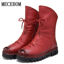 New Fashion echtes Leder Frauen Stiefel Winter Schuhe Casual Mokassins Frauen Stiefel Flache Schuhe Handgefertigte Schuhe Frau Stiefel 7178 Watt