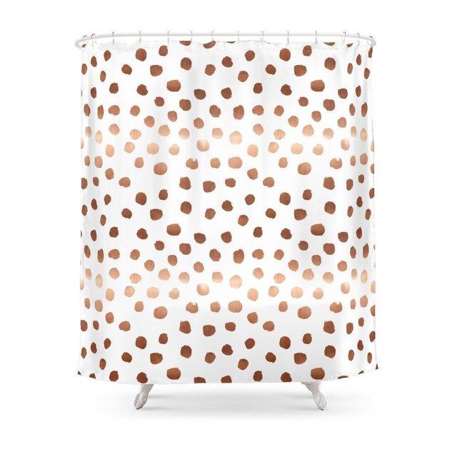 Rose Gold Copper Sparkle Modern Dots Polka Dot Shower Curtain ...