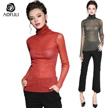 AOFULI M ~ XXL Sexy See-through Knit Coltrui T-shirts Herfst Plus Size High-hals Skinny Tee Shirt lange Mouwen Tops B6151(China)
