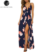 Lily Rosie Girl Boho Deep V Neck Backless Long Women Dress Chiffon Split Cross Lace Up Summer Dress Sleeveless Beach Maxi Dress