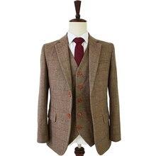 078f2fae7b63 Su misura adatta alle slim fit per gli uomini retrò di lana Marrone A Spina  di Pesce Tweed abito da sposa su misura mens 3 pezzo.