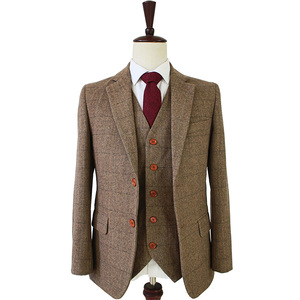 tailor made slim fit suits for men retro wool Brown Herringbone Tweed wedding dress custom mens 3 piece suit Blazers(China)