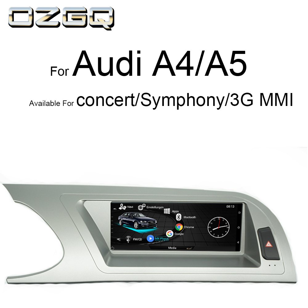 OZGQ Android IPS Touch Screen Car Monitor Audio Multimedia For Audi Concert Symphony 3G MMI 2009 2016 A4 B8 /S4/A5/S5 Navigation